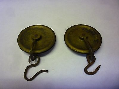 Pair Authentic Antique 8 Day Grandfather Clock Weight Pulleys