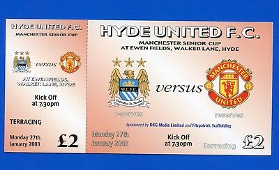 Manchester City FC v Manchester United Manchester Senior Cup '03 TICKET POSTFREE
