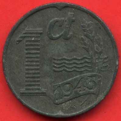 1943 Netherlands 1 Cent Coin