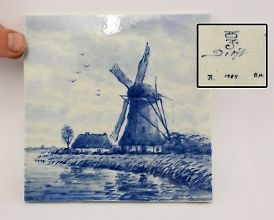Vintage DELFT Blue / White Tile with Hand Painted Windmill Illustration. Stamped