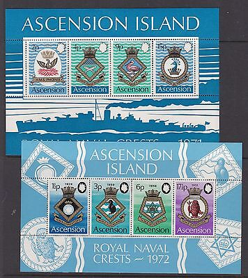ASCENSION 1971/2 3rd & 4th  NAVAL CRESTS MINI SHEETS NEVER HINGED MINT