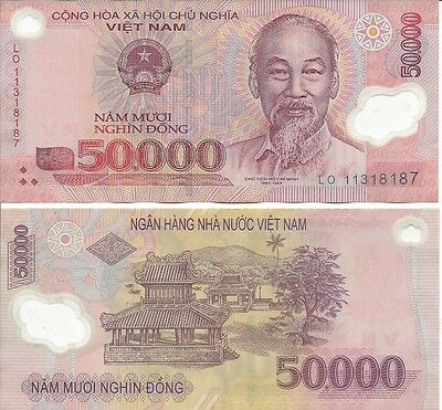 Lot of 5 Vietnam 50,000 (250000 total) Dong Polymer Banknote Vietnamese 20 avail