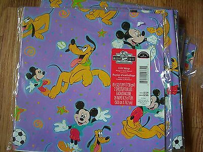 Vintage Disney Mickey Mouse Gift Wrap Birthday Wrapping Paper by Hallmark 2 Shee