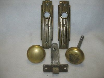 Vintage Pair Solid Brass Door Knob Back Plates and Door Knobs  Lot 2