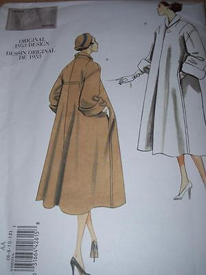 1953 Design - Vogue #v1083 - Ladies Beautiful Knee Length Coat Pattern  6-12 Ff