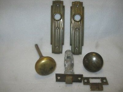 Vintage Pair Solid Brass Door Knob Back Plates and Door Knobs  Lot 3