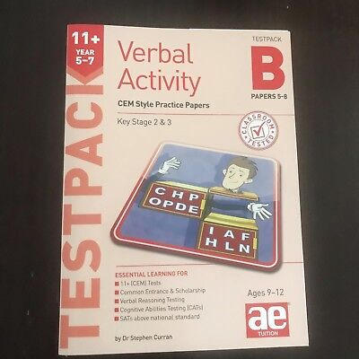 11+ Practice Test Papers, CEM - AE Tuition Verbal Activity Test pack papers 5-8