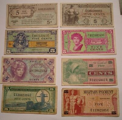 8 piece Mix Five Cent MILITARY PAYMENT Certificates NICE MIX 1946 to 1969