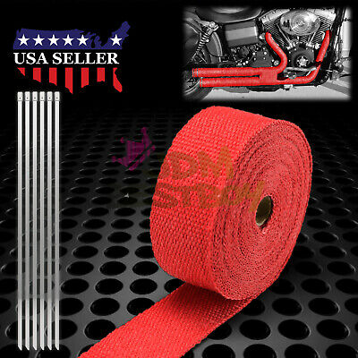 Red Exhaust Pipe Insulation Thermal Heat Wrap 2  x 50u0027 Motorcycle Header & RED EXHAUST PIPE Insulation Thermal Heat Wrap 2