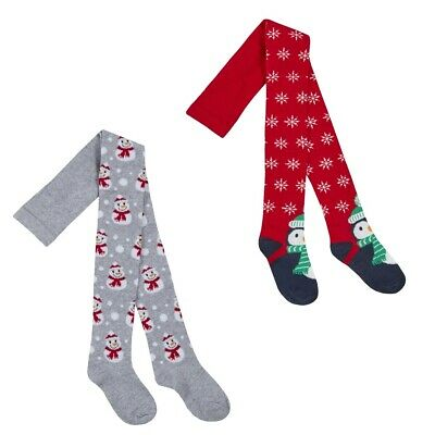 Girls Xmas Tights Red Navy Santa Reindeer 2-3-4-5-6-7-8 Years Post Next Day