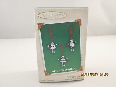 2003 Hallmark Miniature Ornament 3pc SET * KITCHEN ANGELS Baking Cooking