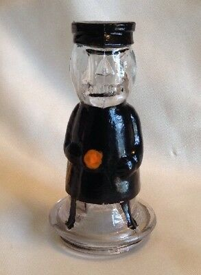 Vintage Glass Night Watchman With Search Light & Billy Club Candy Container