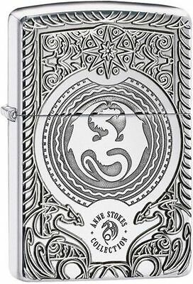 Zippo 28962, Anne Stokes-Dragon, Armor, Deep Carved, High Polish Chrome Lighter