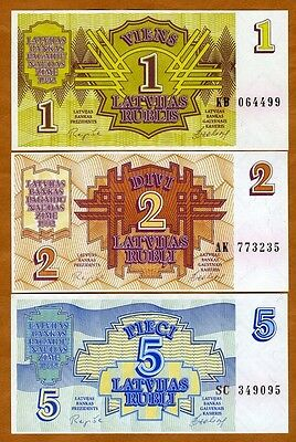 SET, Latvia, 1;2;5 Rubli, 1992, Picks 35-36-37, UNC > First Ex-USSR > pre-Euro