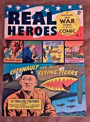 Real Heroes #7 (Nov 1942, Parents' Magazine) Fine FN Nice pages! Flying Tigers
