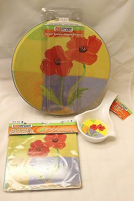 Range Kleen POPPIES 7pc Set Stove Burner Covers & Hot Pads & Spoon Rest/Ladle