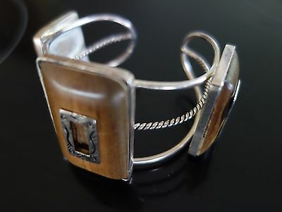 RETRO 70s TIMBER PANEL HAND CRAFTED SANTA FE STYLE CUFF/ BRACELET