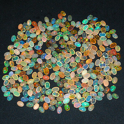305 Pcs ~6mm/4mm Ethiopian~ Natural Opal Certified Lot AAA Strong Color Play