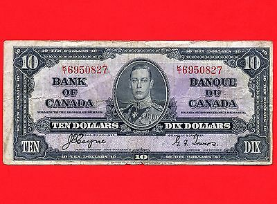 Canada 1937 10 Dollar Bank Note S/N KT6950827
