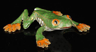 China Collectible Handwork Carving Painting Cloisonne Frog Statue