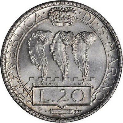 San Marino 1938-R  20 Lire Silver Coin, Choice Uncirculated, Pcgs Certified Ms65