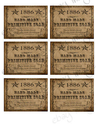 1886  Primitive handmade Soap Labels -  Our Designs     #552