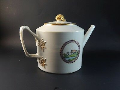 Udderly Fantastic Antique Chinese Export Armorial Teapot with Cows Circa 1790