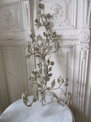 """OMG Old Vintage WALL SCONCE Candle Holder Italian TOLE FLOWERS 31"""" Tall Patina!"""
