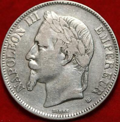 1869 France 5 Francs Silver Foreign Coin Free S/H