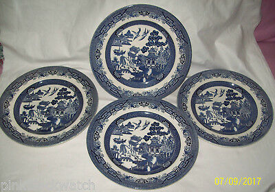 Blue Willow Pattern 4 26cm Dinner Plates Churchill China England Lion Backstamp