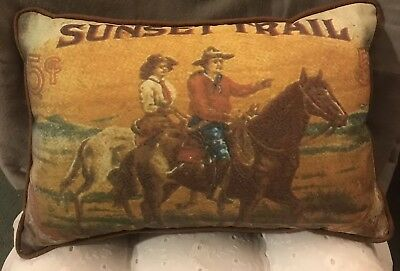 Cowboy Western Home Decorative Pillow Riders Horses Sunset Trail