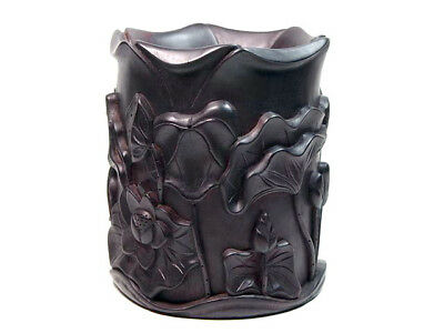 Authentic African Zitan Wood Hand Carved Lotus Leaf Flower LARGE HEAVY Brush Pot