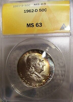 Awesome Crescent Rainbow Toned! 1962-D Anacs Ms 63 Franklin Silver Half Dollar!