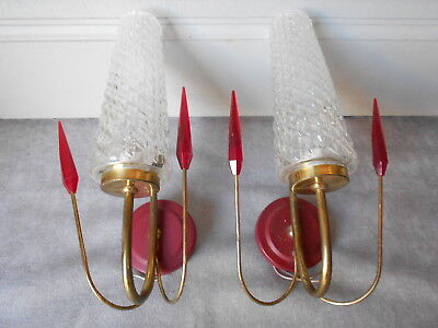 PAIR of Vintage FRENCH brass Wall LIGHT SCONCES fixtures