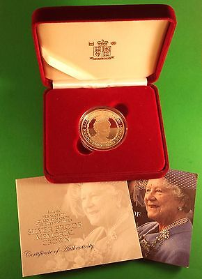 """2002 Great Britain Proof 5 Pound """"Queen Mum"""" In Box With COA 28.28G .925 Silver"""
