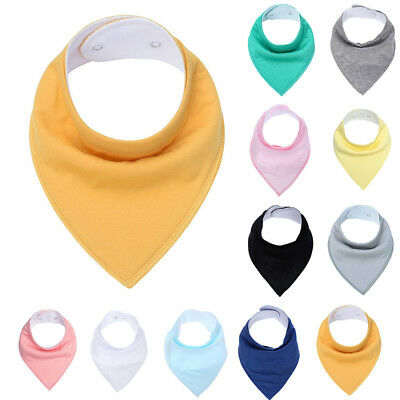 Infant Kid Child Cotton Baby Bibs & Burp Cloths Solid Triangle Bandana Bib Cloth