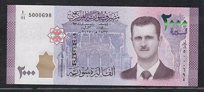 Syria New Issue 2000 Pounds Syrian Banknotes Siria Syrien Syrie シリア S/N 5000698