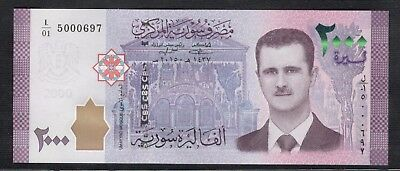 Syria New Issue 2000 Pounds Syrian Banknotes Siria Syrien Syrie シリア S/N 5000697