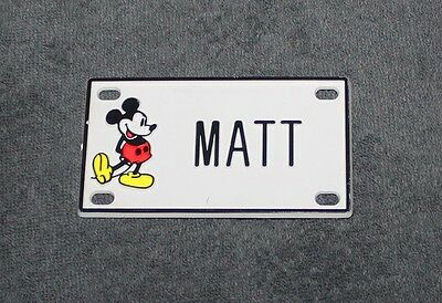 Vintage Walt Disney Prod. Mickey Mouse Name Matt Plastic License Plate