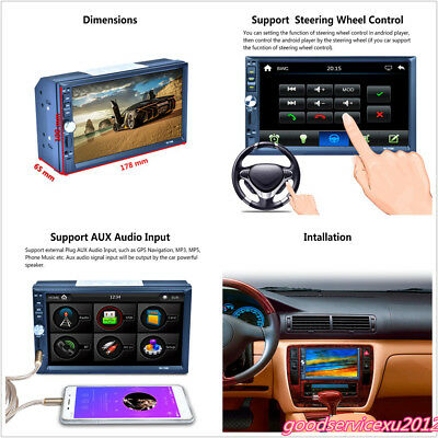 "7"" 2-Din 1080P HD Touch Screen Car SUV Radio Stereo MP5 MP3 Player Bluetooth AUX"