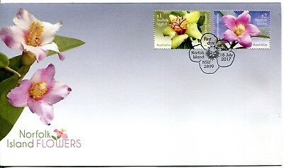 2017 Norfolk Island Flowers (Gummed Stamps) FDC - Norfolk Island NSW 2899 PMK