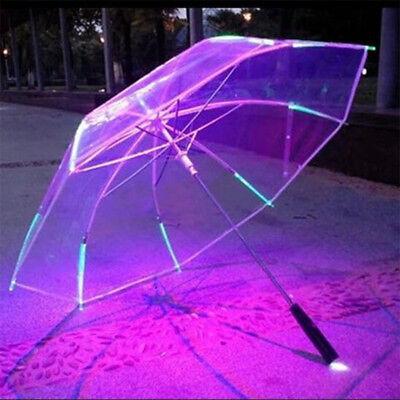 LED Luminous Transparent Clear Dome See Through Umbrella With Flashlight For Kid
