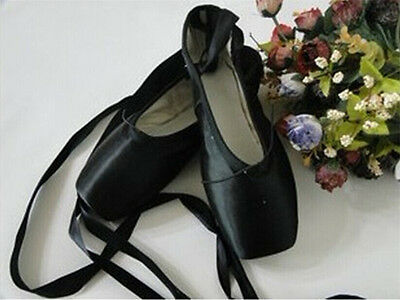 New  Adult Girls Ladies Satin Pointe Shoes Women Ballet Dance Toe shoe-Black