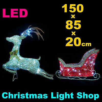 Glitter Thread Reindeer Sleigh RED SILVER In/ Outdoor Christmas LED Lawn Lights
