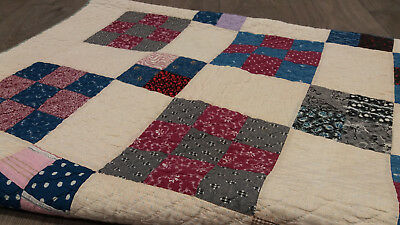 Antique Vintage Victorian Hand-Stitched Patchwork Single Quilt 9 & 4 Block