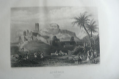 GRAVURE ATHENES et l'ACROPOLE 1860  engraving from mid 19th Century