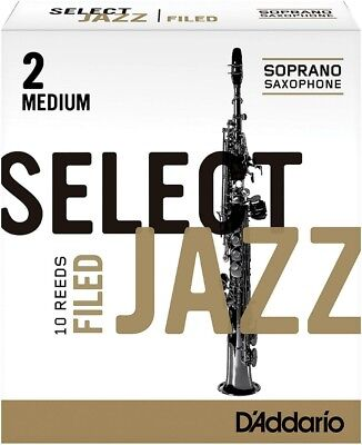 D'Addario Woodwinds Select Jazz Filed Soprano Sax Reeds Strength 2 Med Box of 10