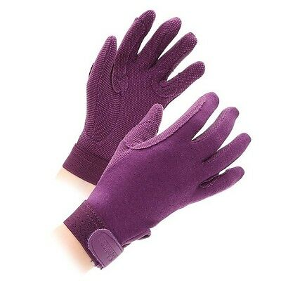 SHIRES NEWBURY gloves ADULTS PURPLE 880 horse rider grip gloves cotton XS - XL