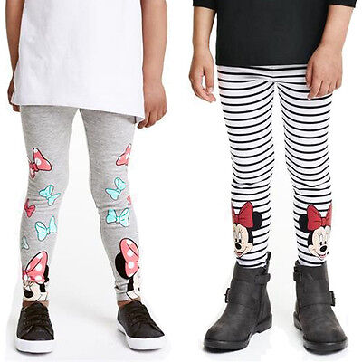 Fall Girls Minnie Mouse Leggings Striped Cotton Long Pants Trousers Size 2-7Y