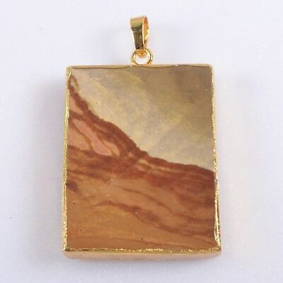 Succor Creek Jasper Pendant Bead Gold Plated B047874